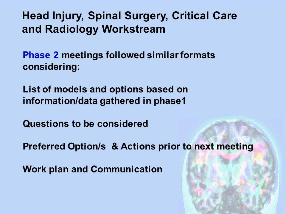 Head Injury, Spinal Surgery, Critical Care and Radiology Workstream Phase 2 meetings followed similar formats considering: List of models and options based on information/data gathered in phase1 Questions to be considered Preferred Option/s & Actions prior to next meeting Work plan and Communication