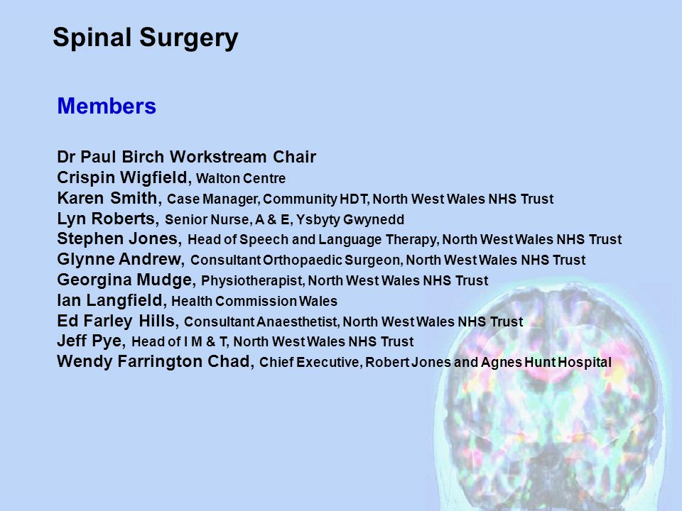 Spinal Surgery Members Dr Paul Birch Workstream Chair Crispin Wigfield, Walton Centre Karen Smith, Case Manager, Community HDT, North West Wales NHS T