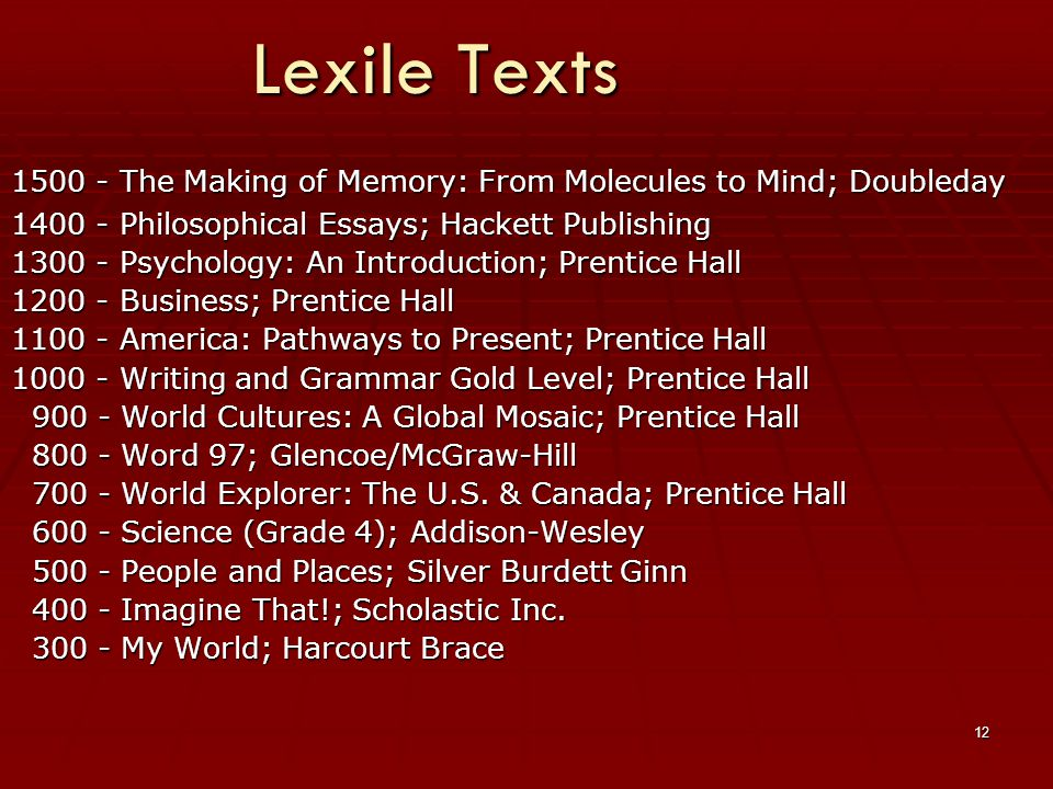12 Lexile Texts 1500 - The Making of Memory: From Molecules to Mind; Doubleday 1400 - Philosophical Essays; Hackett Publishing 1300 - Psychology: An Introduction; Prentice Hall 1200 - Business; Prentice Hall 1100 - America: Pathways to Present; Prentice Hall 1000 - Writing and Grammar Gold Level; Prentice Hall 900 - World Cultures: A Global Mosaic; Prentice Hall 900 - World Cultures: A Global Mosaic; Prentice Hall 800 - Word 97; Glencoe/McGraw-Hill 800 - Word 97; Glencoe/McGraw-Hill 700 - World Explorer: The U.S.