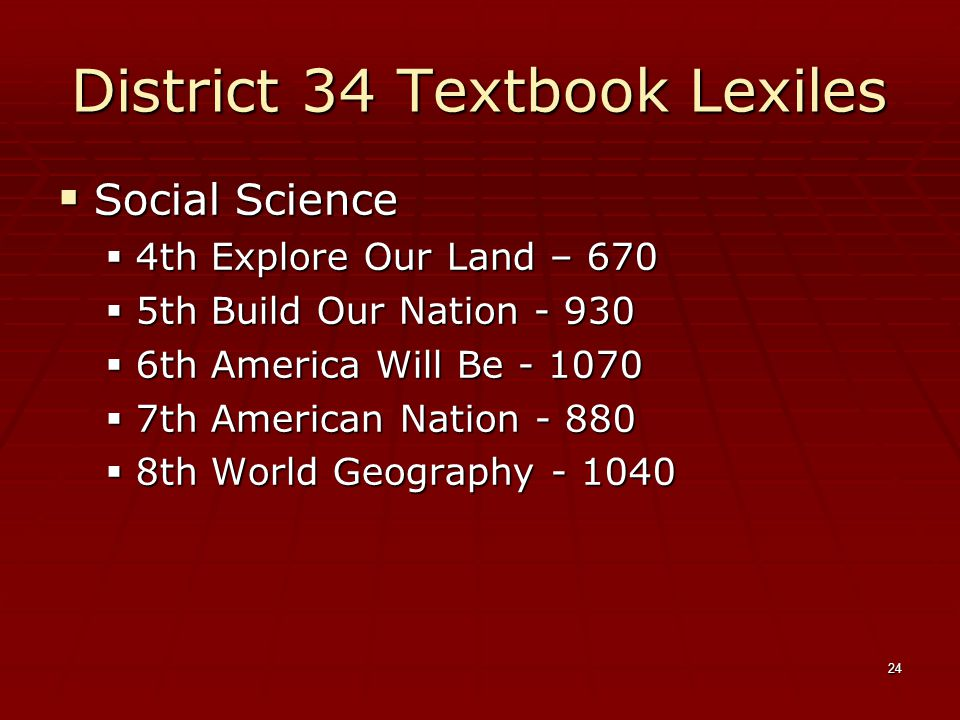 24 District 34 Textbook Lexiles  Social Science  4th Explore Our Land – 670  5th Build Our Nation - 930  6th America Will Be - 1070  7th American Nation - 880  8th World Geography - 1040