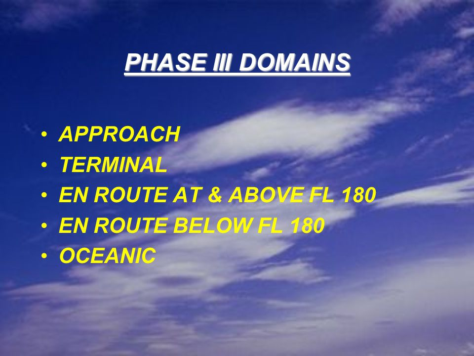 PHASE III DOMAINS APPROACH TERMINAL EN ROUTE AT & ABOVE FL 180 EN ROUTE BELOW FL 180 OCEANIC