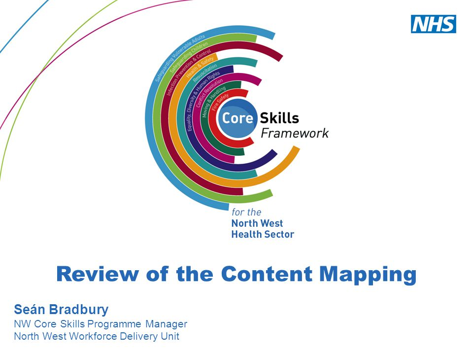 Review of the Content Mapping Seán Bradbury NW Core Skills Programme Manager North West Workforce Delivery Unit