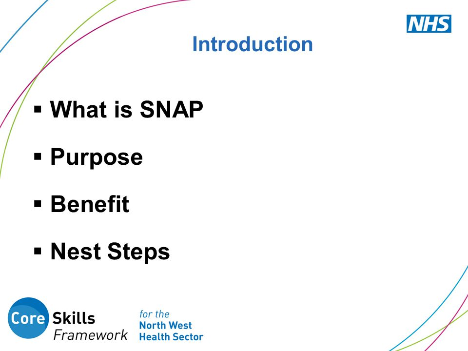 Introduction  What is SNAP  Purpose  Benefit  Nest Steps