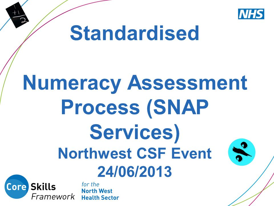 Standardised Numeracy Assessment Process (SNAP Services) Northwest CSF Event 24/06/2013