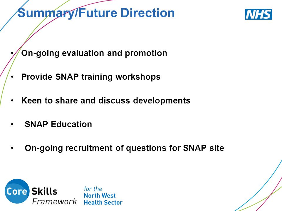 Summary/Future Direction On-going evaluation and promotion Provide SNAP training workshops Keen to share and discuss developments SNAP Education On-go
