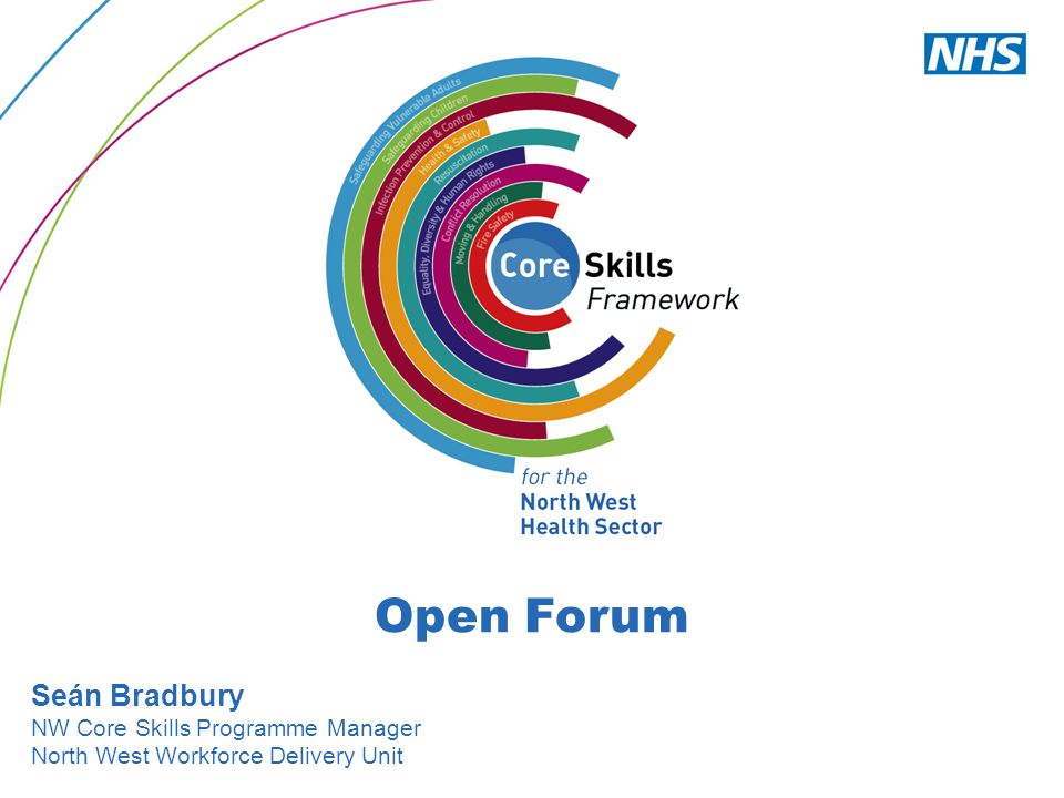 Open Forum Seán Bradbury NW Core Skills Programme Manager North West Workforce Delivery Unit