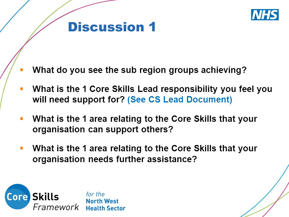  What do you see the sub region groups achieving?  What is the 1 Core Skills Lead responsibility you feel you will need support for? (See CS Lead Do