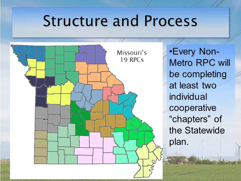 Structure and Process Missouri's 19 RPCs Every Non- Metro RPC will be completing at least two individual cooperative chapters of the Statewide plan.