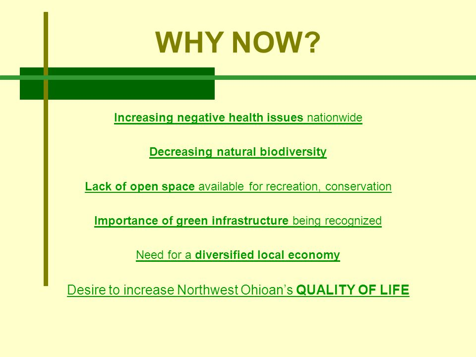 WHY NOW? Increasing negative health issues nationwide Decreasing natural biodiversity Lack of open space available for recreation, conservation Import