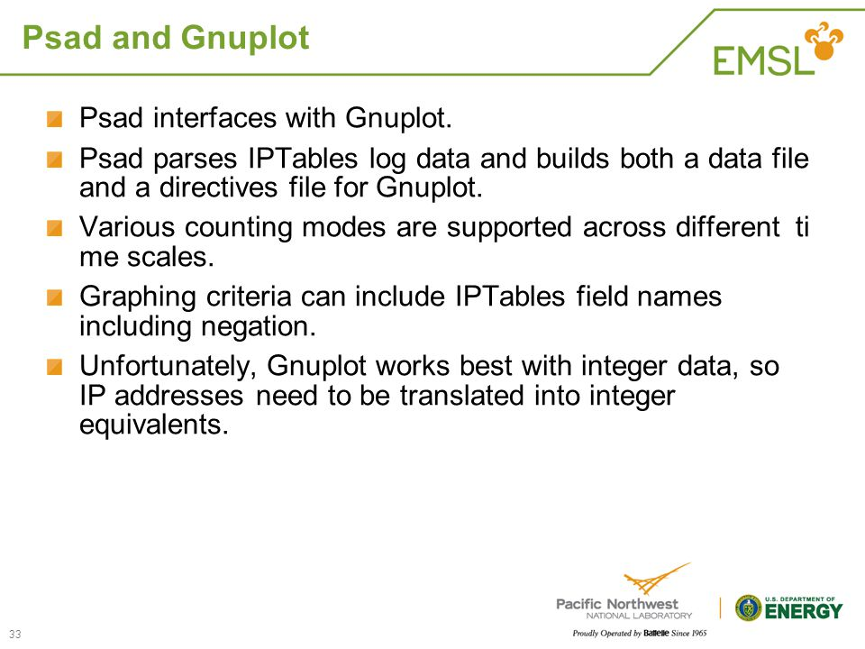 Psad and Gnuplot Psad interfaces with Gnuplot.