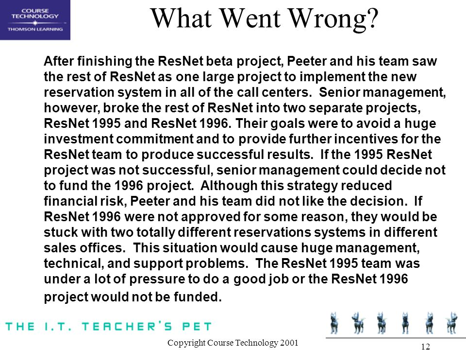 Copyright Course Technology 2001 12 What Went Wrong.