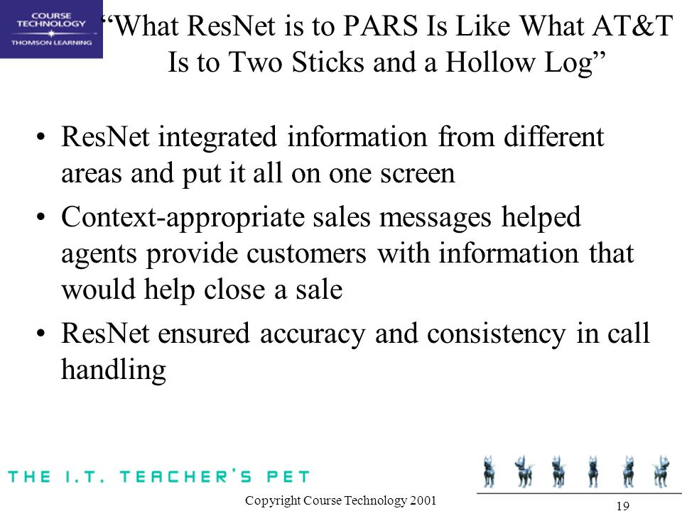 Copyright Course Technology 2001 19 What ResNet is to PARS Is Like What AT&T Is to Two Sticks and a Hollow Log ResNet integrated information from different areas and put it all on one screen Context-appropriate sales messages helped agents provide customers with information that would help close a sale ResNet ensured accuracy and consistency in call handling