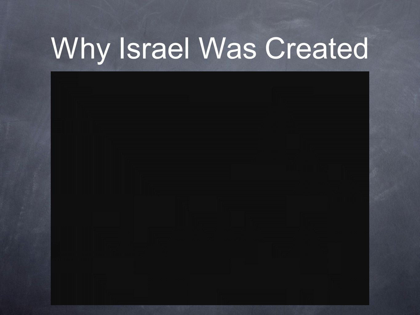 Why Israel Was Created