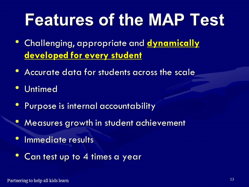 Partnering to help all kids learn 12 Instructional Level vs. Mastery The NWEA test provides the instructional level of the student. The NWEA test prov
