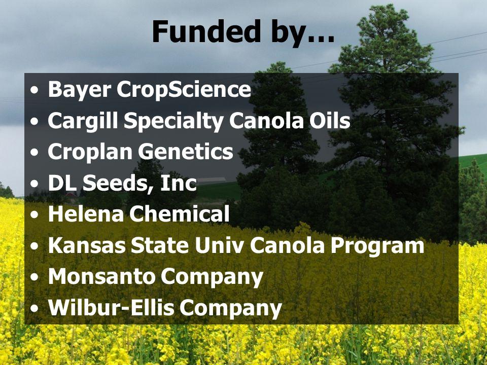 Funded by… Bayer CropScience Cargill Specialty Canola Oils Croplan Genetics DL Seeds, Inc Helena Chemical Kansas State Univ Canola Program Monsanto Co