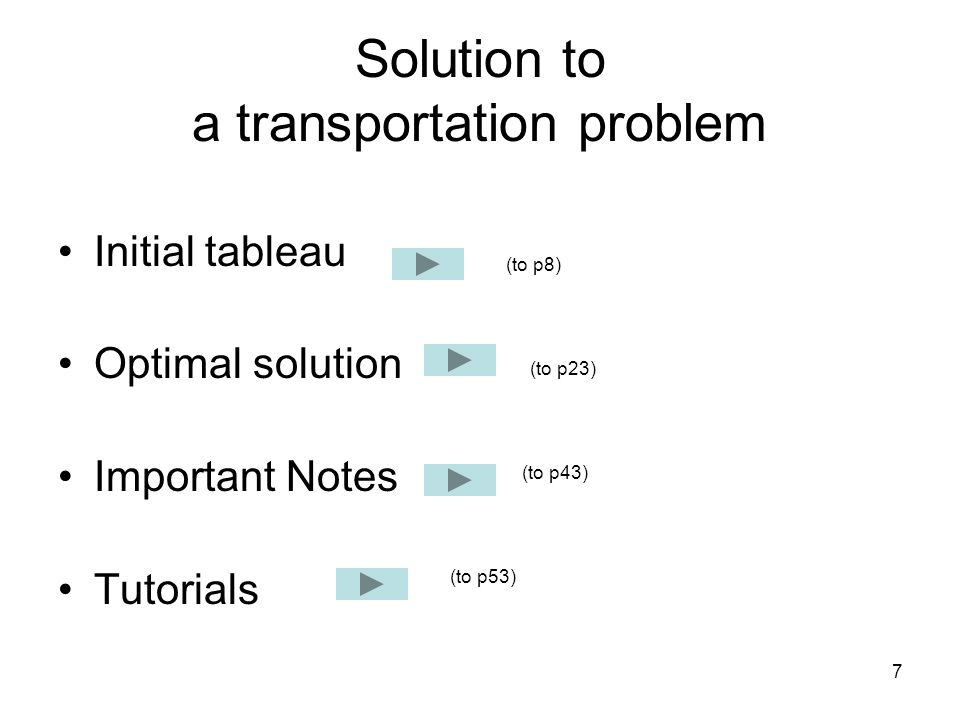 7 Solution to a transportation problem Initial tableau Optimal solution Important Notes Tutorials (to p8) (to p43) (to p23) (to p53)