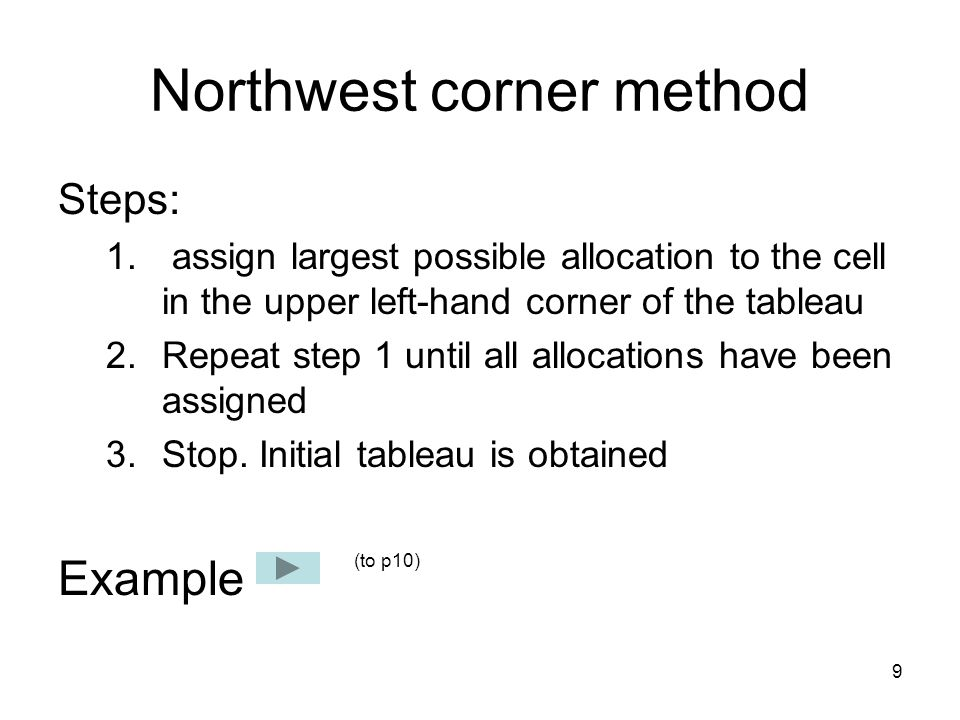 9 Northwest corner method Steps: 1.