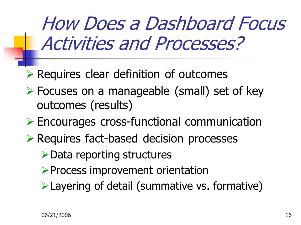 06/21/200616 How Does a Dashboard Focus Activities and Processes.