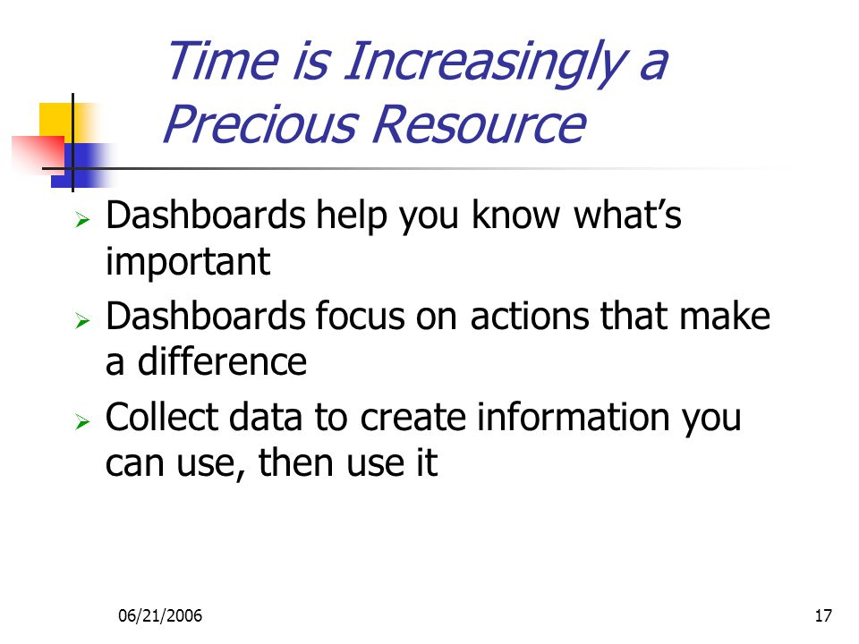 06/21/200617  Dashboards help you know what's important  Dashboards focus on actions that make a difference  Collect data to create information you can use, then use it Time is Increasingly a Precious Resource