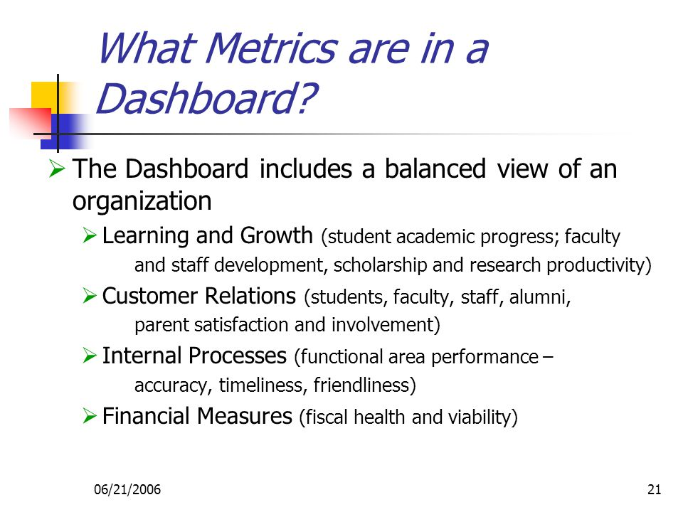 06/21/200621 What Metrics are in a Dashboard.