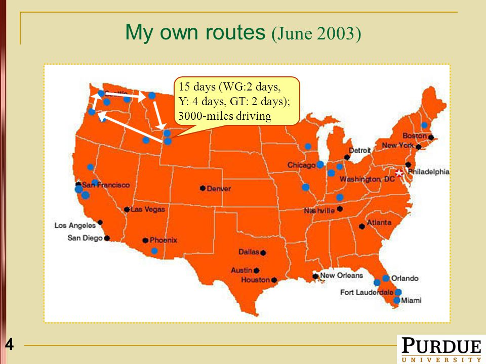 4 My own routes (June 2003) 15 days (WG:2 days, Y: 4 days, GT: 2 days); 3000-miles driving