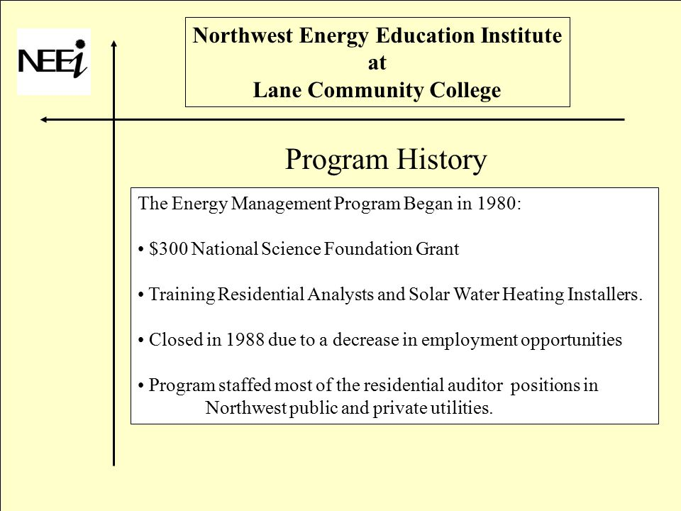 Northwest Energy Education Institute at Lane Community College The Energy Management Program Began in 1980: $300 National Science Foundation Grant Training Residential Analysts and Solar Water Heating Installers.