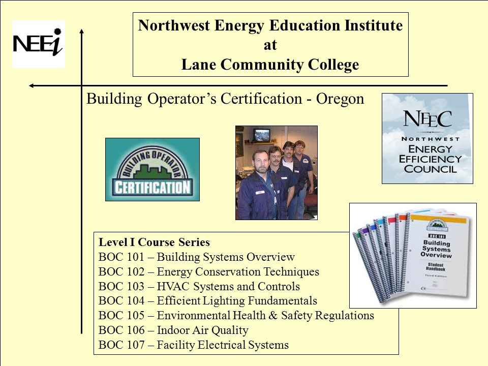 Northwest Energy Education Institute at Lane Community College Building Operator's Certification - Oregon Level I Course Series BOC 101 – Building Systems Overview BOC 102 – Energy Conservation Techniques BOC 103 – HVAC Systems and Controls BOC 104 – Efficient Lighting Fundamentals BOC 105 – Environmental Health & Safety Regulations BOC 106 – Indoor Air Quality BOC 107 – Facility Electrical Systems