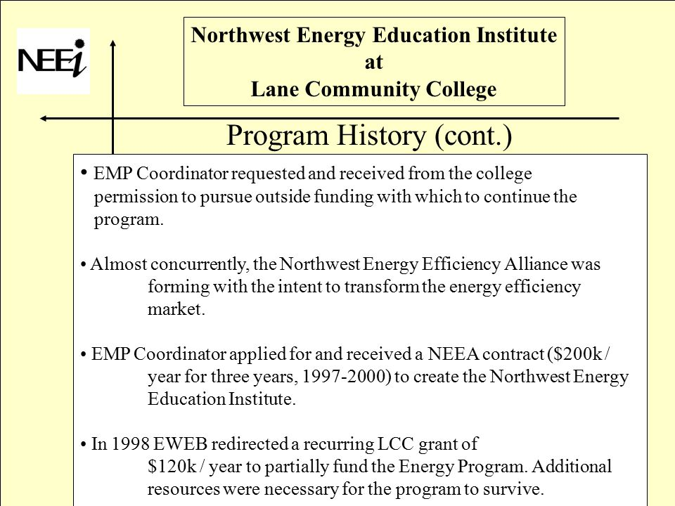 Northwest Energy Education Institute at Lane Community College Program History (cont.) EMP Coordinator requested and received from the college permission to pursue outside funding with which to continue the program.
