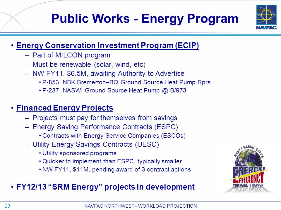 23 NAVFAC NORTHWEST - WORKLOAD PROJECTION Energy Conservation Investment Program (ECIP) – Part of MILCON program – Must be renewable (solar, wind, etc) – NW FY11, $6.5M, awaiting Authority to Advertise P-853, NBK Bremerton–BQ Ground Source Heat Pump Rprs P-237, NASWI Ground Source Heat Pump @ B/973 Financed Energy Projects – Projects must pay for themselves from savings – Energy Saving Performance Contracts (ESPC) Contracts with Energy Service Companies (ESCOs) – Utility Energy Savings Contracts (UESC) Utility sponsored programs Quicker to implement than ESPC, typically smaller NW FY11, $11M, pending award of 3 contract actions FY12/13 SRM Energy projects in development Public Works - Energy Program