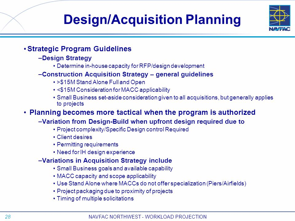 28 NAVFAC NORTHWEST - WORKLOAD PROJECTION Design/Acquisition Planning Strategic Program Guidelines –Design Strategy Determine in-house capacity for RF