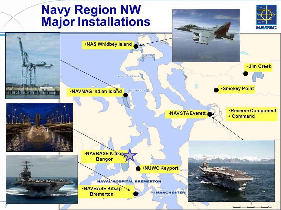 7 NAVFAC NORTHWEST - WORKLOAD PROJECTION NAS Whidbey Island NAVSTA Everett Smokey Point Jim Creek NAVBASE Kitsap Bangor NAVBASE Kitsap Bremerton NUWC Keyport Navy Region NW Major Installations NAVMAG Indian Island Reserve Component Command