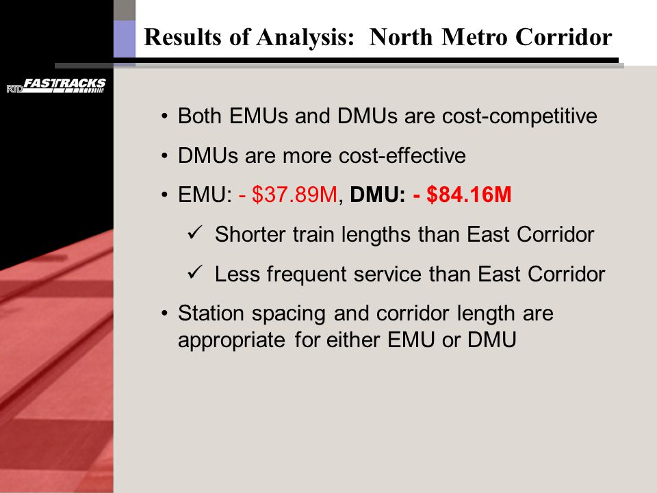 Results of Analysis: North Metro Corridor Both EMUs and DMUs are cost-competitive DMUs are more cost-effective EMU: - $37.89M, DMU: - $84.16M Shorter train lengths than East Corridor Less frequent service than East Corridor Station spacing and corridor length are appropriate for either EMU or DMU