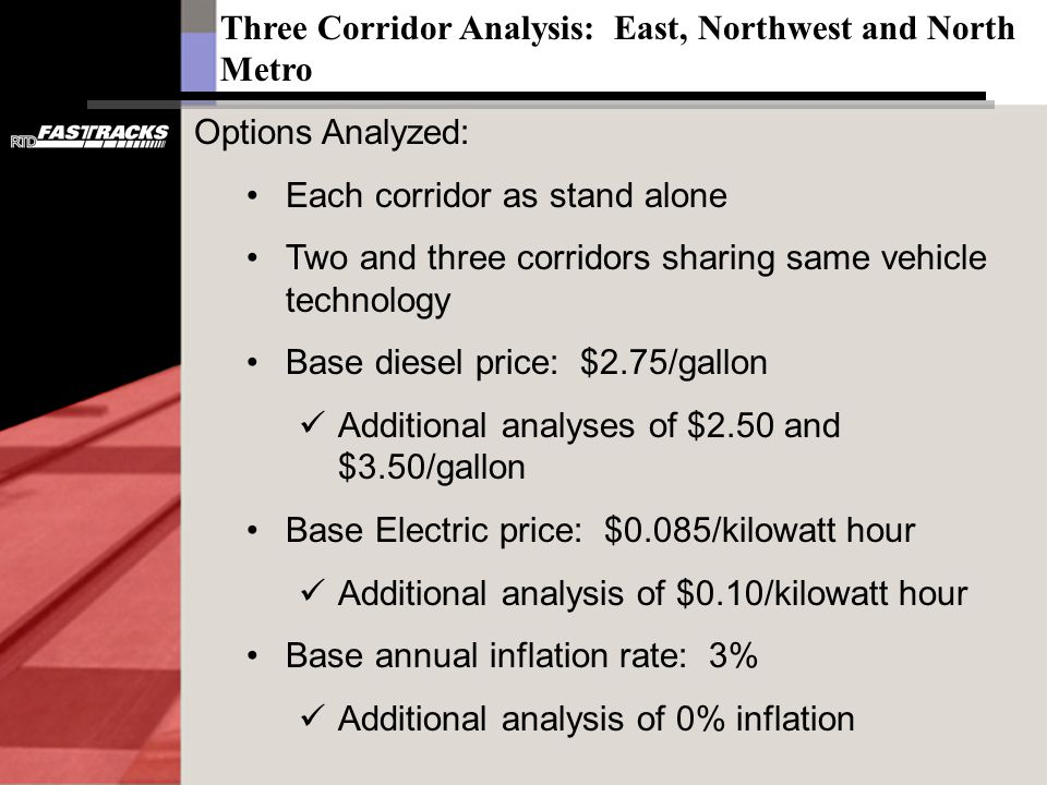Options Analyzed: Each corridor as stand alone Two and three corridors sharing same vehicle technology Base diesel price: $2.75/gallon Additional analyses of $2.50 and $3.50/gallon Base Electric price: $0.085/kilowatt hour Additional analysis of $0.10/kilowatt hour Base annual inflation rate: 3% Additional analysis of 0% inflation Three Corridor Analysis: East, Northwest and North Metro