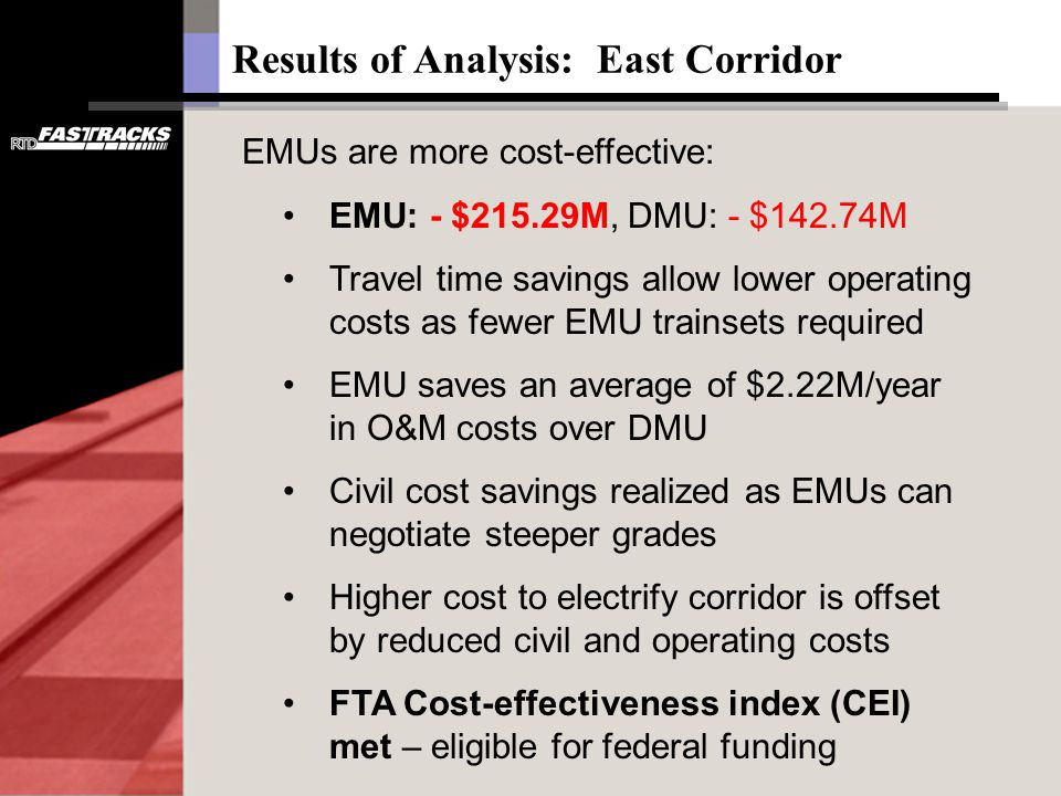 Results of Analysis: East Corridor EMUs are more cost-effective: EMU: - $215.29M, DMU: - $142.74M Travel time savings allow lower operating costs as f