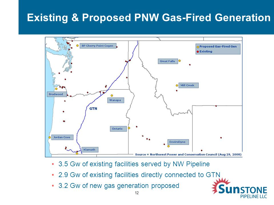 Existing & Proposed PNW Gas-Fired Generation 12 3.5 Gw of existing facilities served by NW Pipeline 2.9 Gw of existing facilities directly connected to GTN 3.2 Gw of new gas generation proposed
