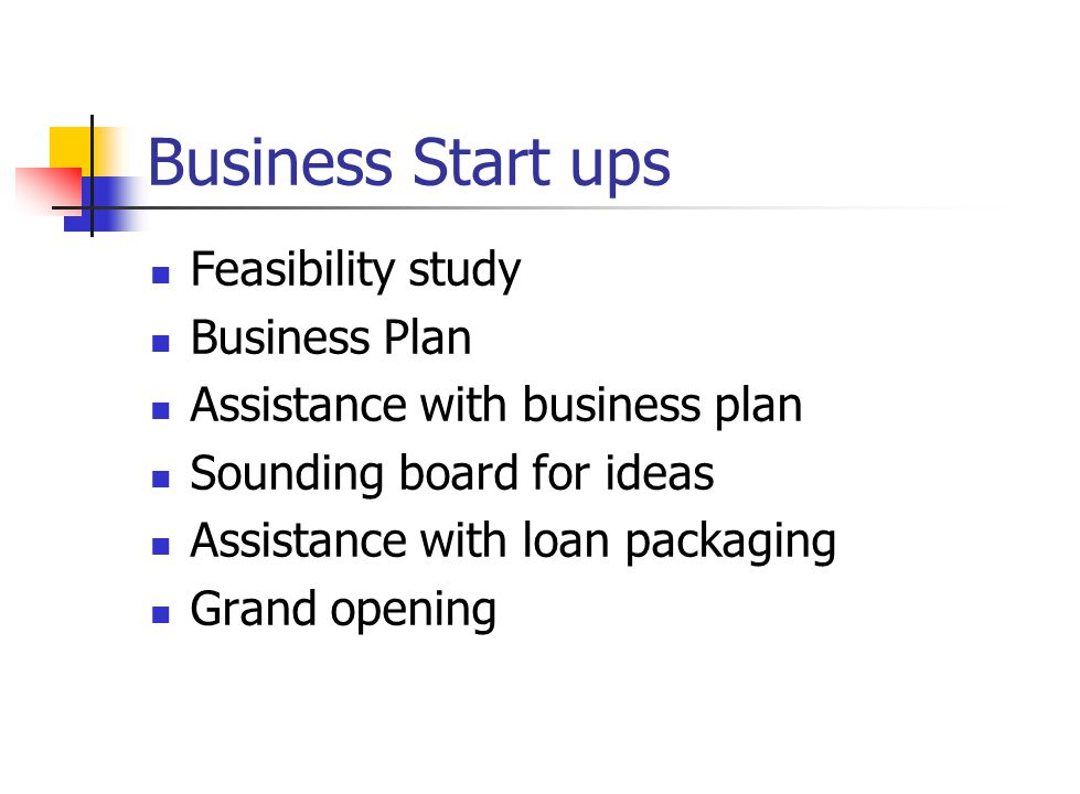 Business Start ups Feasibility study Business Plan Assistance with business plan Sounding board for ideas Assistance with loan packaging Grand opening