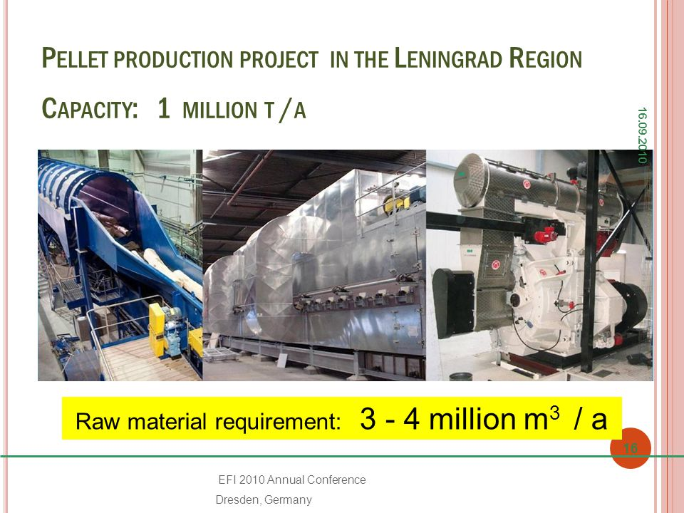 P ELLET PRODUCTION PROJECT IN THE L ENINGRAD R EGION C APACITY : 1 MILLION T / A 16.09.2010 16 EFI 2010 Annual Conference Dresden, Germany Raw material requirement: 3 - 4 million m 3 / a
