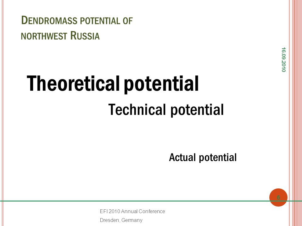 D ENDROMASS POTENTIAL OF NORTHWEST R USSIA Theoretical potential Тechnical potential Actual potential 16.09.2010 6 EFI 2010 Annual Conference Dresden, Germany