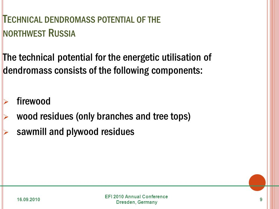 T ECHNICAL DENDROMASS POTENTIAL OF THE NORTHWEST R USSIA The technical potential for the energetic utilisation of dendromass consists of the following components:  firewood  wood residues (only branches and tree tops)  sawmill and plywood residues 16.09.2010 EFI 2010 Annual Conference Dresden, Germany 9