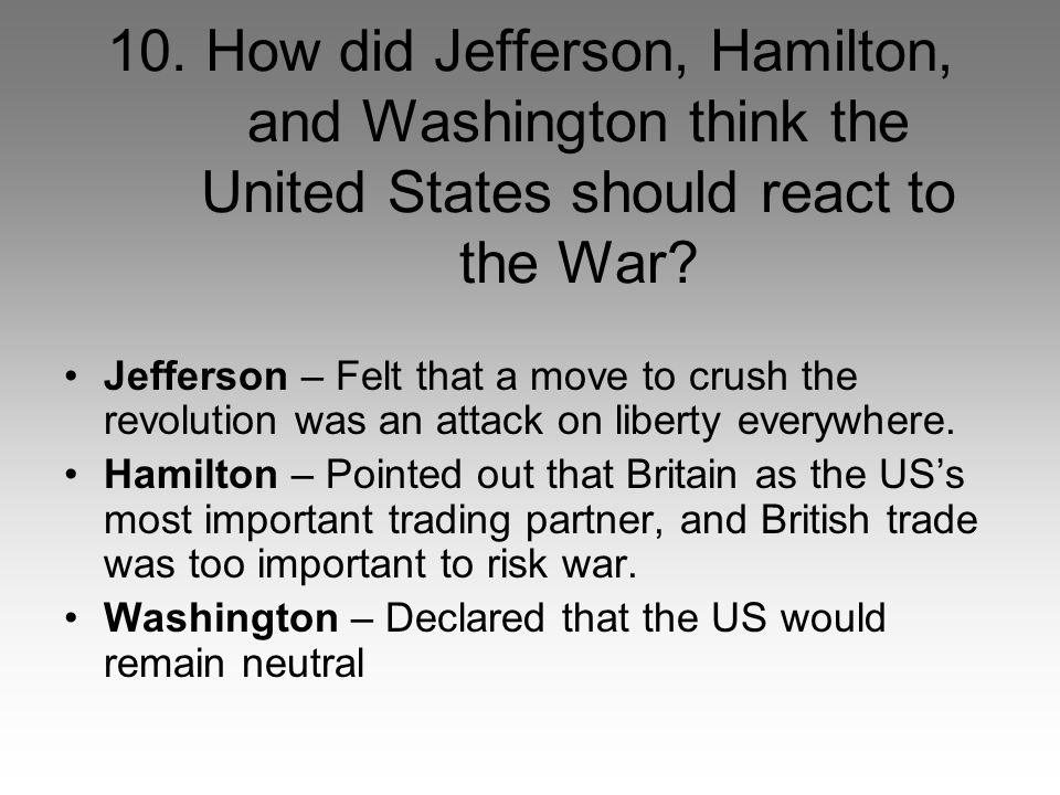 10. How did Jefferson, Hamilton, and Washington think the United States should react to the War.