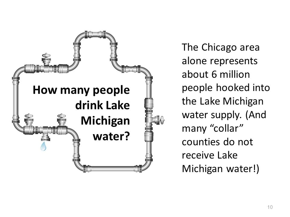How many people drink Lake Michigan water? The Chicago area alone represents about 6 million people hooked into the Lake Michigan water supply. (And m