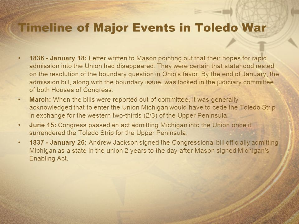 Timeline of Major Events in Toledo War 1836 - January 18: Letter written to Mason pointing out that their hopes for rapid admission into the Union had disappeared.