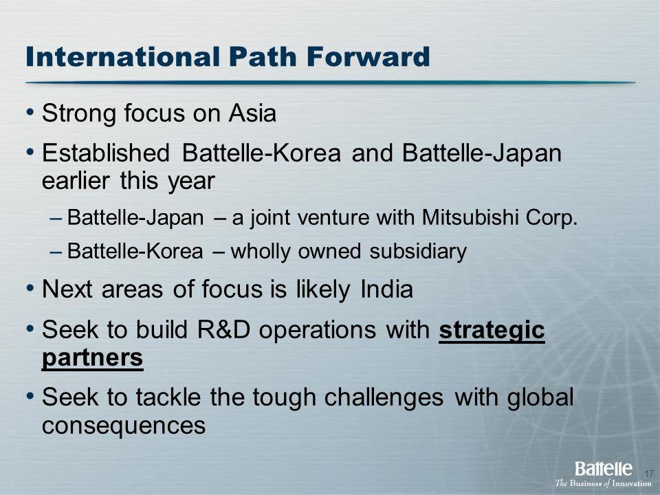 17 International Path Forward Strong focus on Asia Established Battelle-Korea and Battelle-Japan earlier this year –Battelle-Japan – a joint venture w