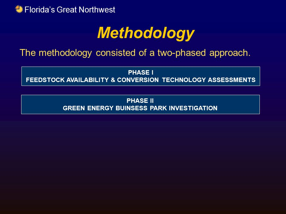 Florida's Great Northwest Methodology The methodology consisted of a two-phased approach. PHASE I FEEDSTOCK AVAILABILITY & CONVERSION TECHNOLOGY ASSES