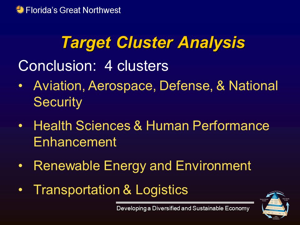 Florida's Great Northwest Target Cluster Analysis Conclusion: 4 clusters Aviation, Aerospace, Defense, & National Security Health Sciences & Human Per