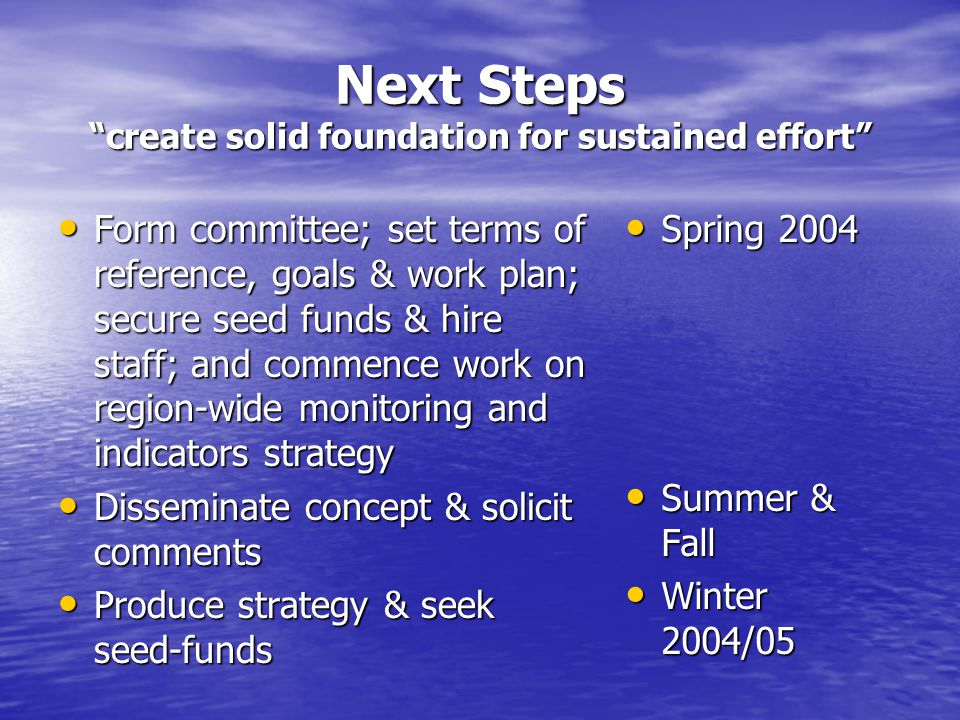 Next Steps create solid foundation for sustained effort Form committee; set terms of reference, goals & work plan; secure seed funds & hire staff; and commence work on region-wide monitoring and indicators strategy Form committee; set terms of reference, goals & work plan; secure seed funds & hire staff; and commence work on region-wide monitoring and indicators strategy Disseminate concept & solicit comments Disseminate concept & solicit comments Produce strategy & seek seed-funds Produce strategy & seek seed-funds Spring 2004 Spring 2004 Summer & Fall Summer & Fall Winter 2004/05 Winter 2004/05