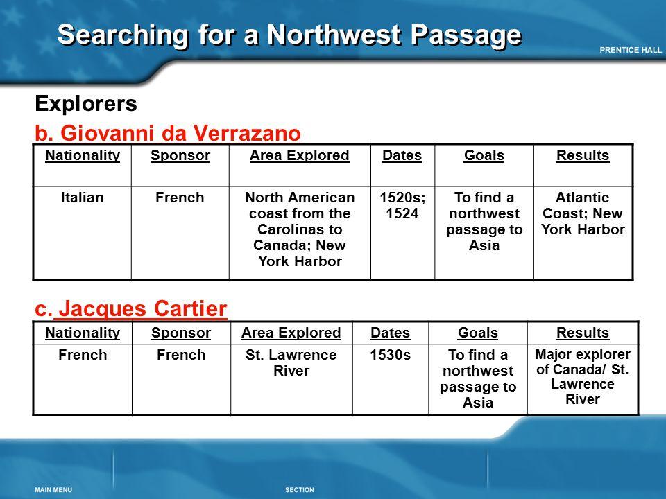 Searching for a Northwest Passage Explorers b. Giovanni da Verrazano c. Jacques Cartier NationalitySponsorArea ExploredDatesGoalsResults ItalianFrench