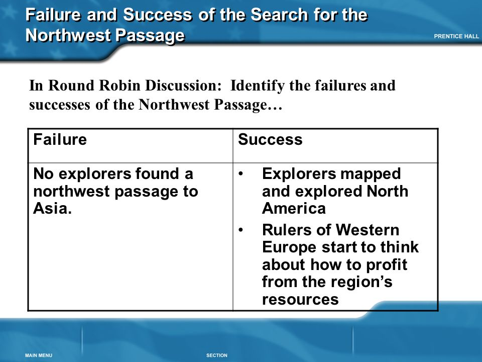 Failure and Success of the Search for the Northwest Passage FailureSuccess No explorers found a northwest passage to Asia. Explorers mapped and explor