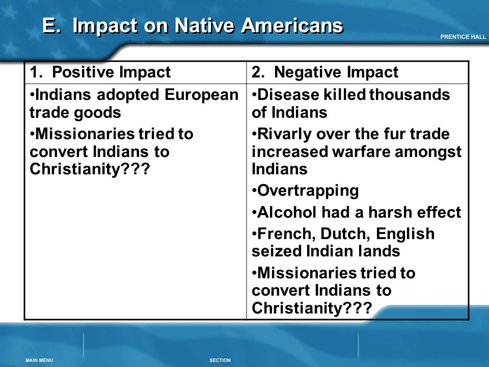 E. Impact on Native Americans 1. Positive Impact2. Negative Impact Indians adopted European trade goods Missionaries tried to convert Indians to Chris