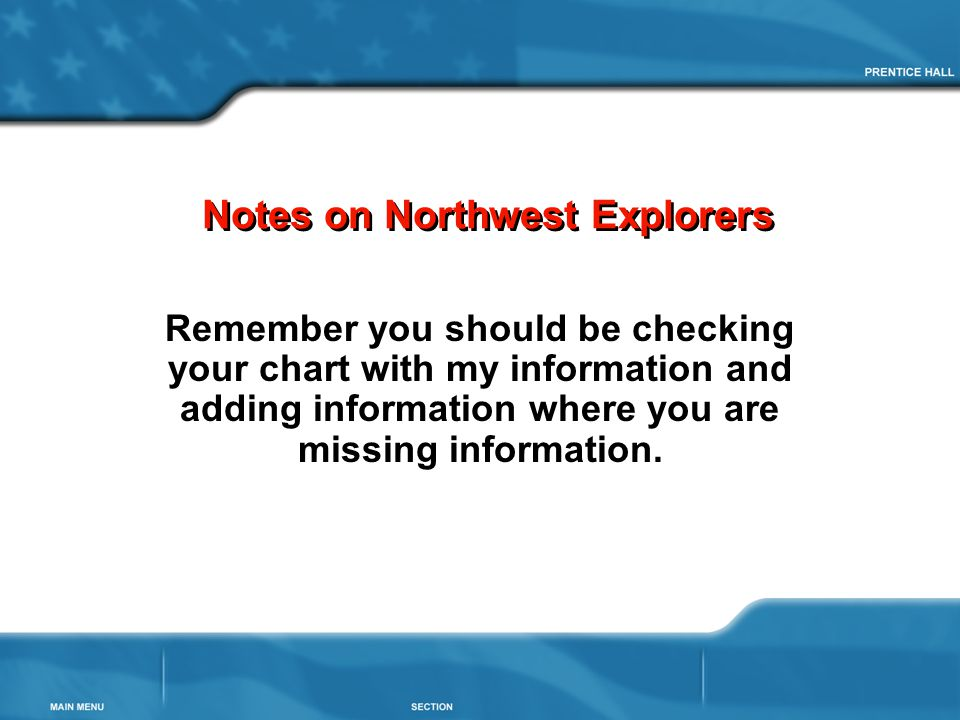 Notes on Northwest Explorers Remember you should be checking your chart with my information and adding information where you are missing information.